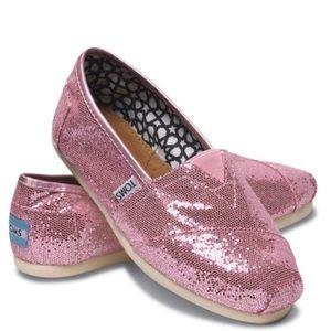 Toms Glitter Pink Loafers Slip On Shoe